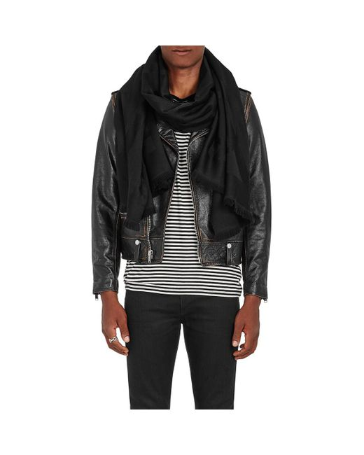Saint Laurent Black Abstract-signature-print Wool Scarf for men