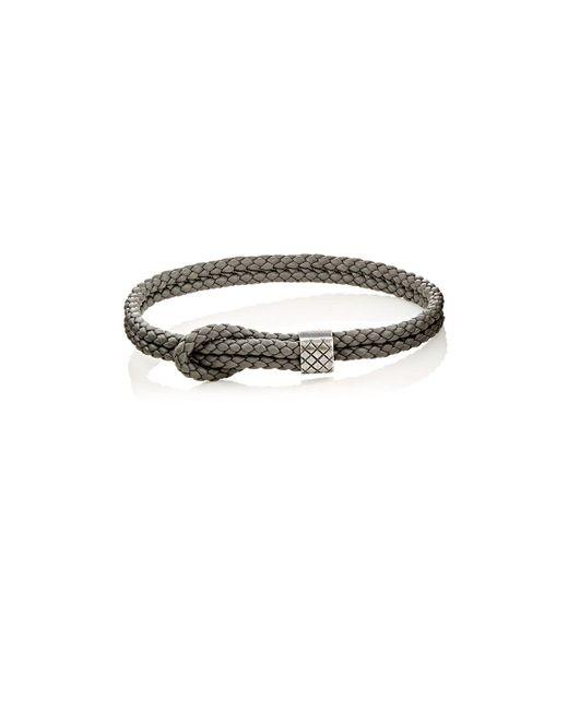 Bottega Veneta - Gray Sterling Silver & Intrecciato Leather Bracelet - Lyst
