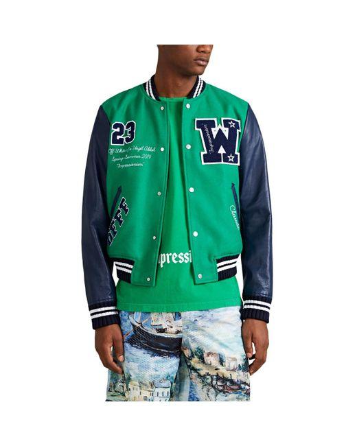 Off-White c/o Virgil Abloh - Green Patchwork Bomber Jacket for Men - Lyst