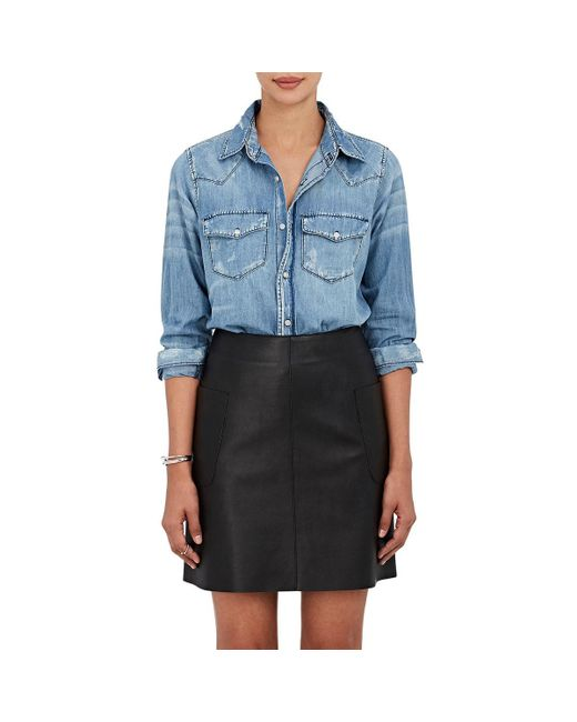 NSF | Blue Lesli Distressed Cotton Chambray Shirt | Lyst