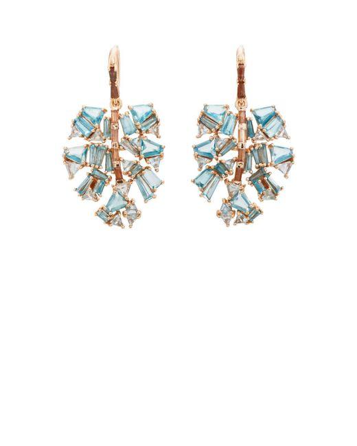 Nak Armstrong - Blue Monstera Palm Leaf Earrings - Lyst