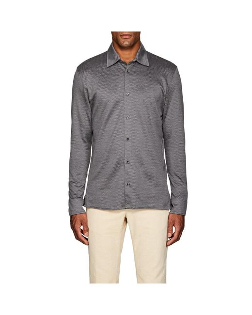 Luciano Barbera - Gray Geometric-jacquard-knit Cotton Shirt for Men - Lyst