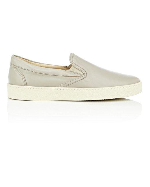 Barneys New York - White Crepe-sole Leather Slip-on Sneakers for Men - Lyst