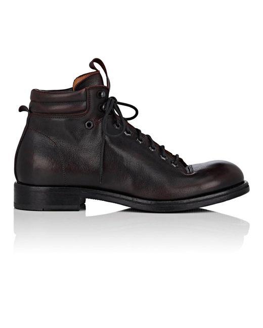 Elia Maurizi - Black Leather Hiking Boots for Men - Lyst