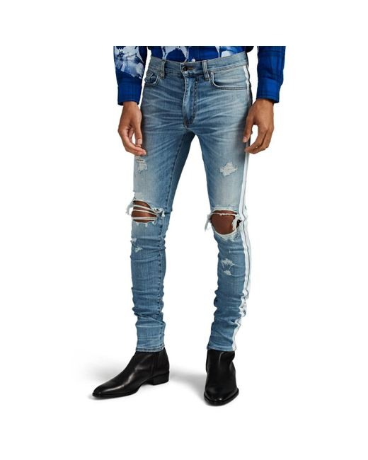 Amiri Blue Track Distressed Striped Skinny Jeans for men