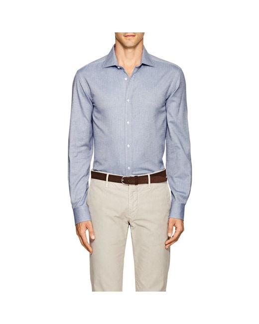 Ralph Lauren Purple Label - Blue Aston Herringbone Cotton Shirt for Men - Lyst