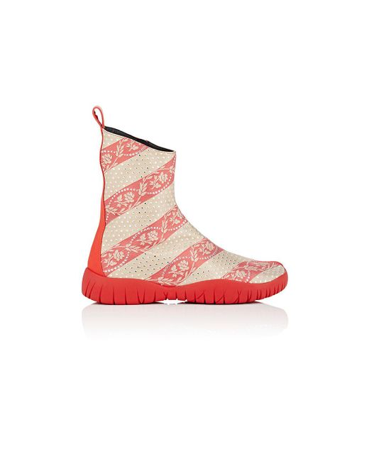 Maison Margiela | Red Tabi Jacquard Ankle Boots | Lyst