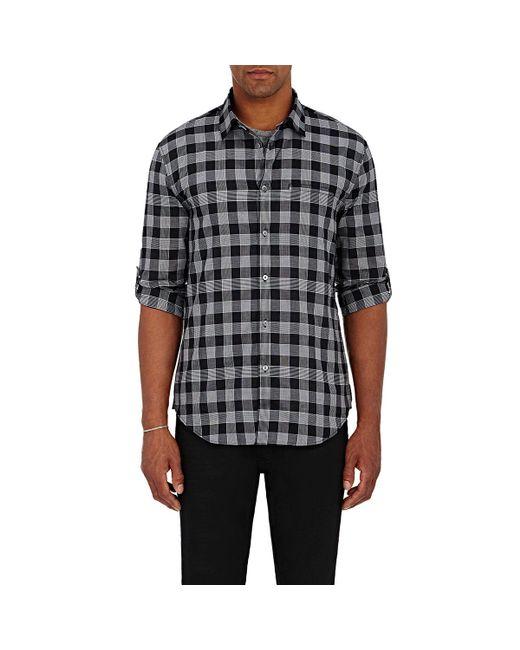 John Varvatos | White Check Roll-tab Woven Shirt for Men | Lyst