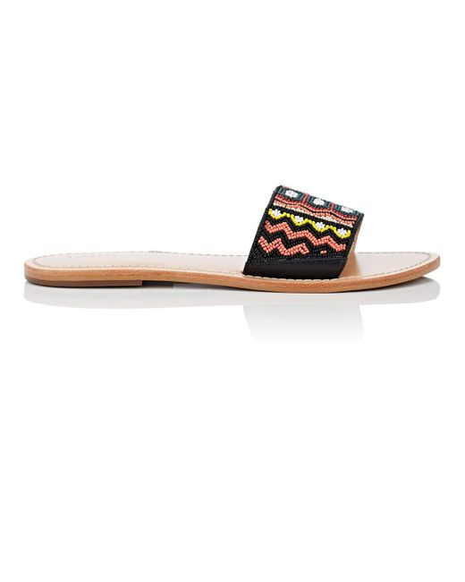 Barneys New York - Multicolor Beaded Leather Slide Sandals Size 12 - Lyst