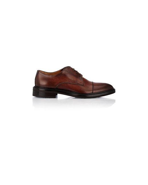 Barneys New York Brown Burnished Leather Cap-toe Bluchers for men