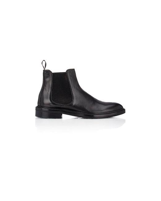 Barneys New York Black Leather Chelsea Boots for men