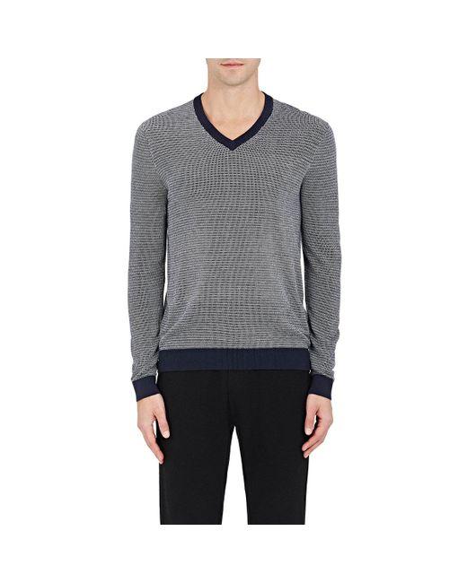 Michael Kors - Blue Birdseye-knit Silk-cotton V for Men - Lyst