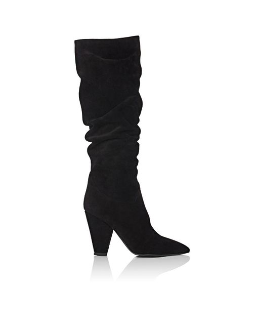 Barneys New York - Black Suede Slouchy Knee Boots - Lyst