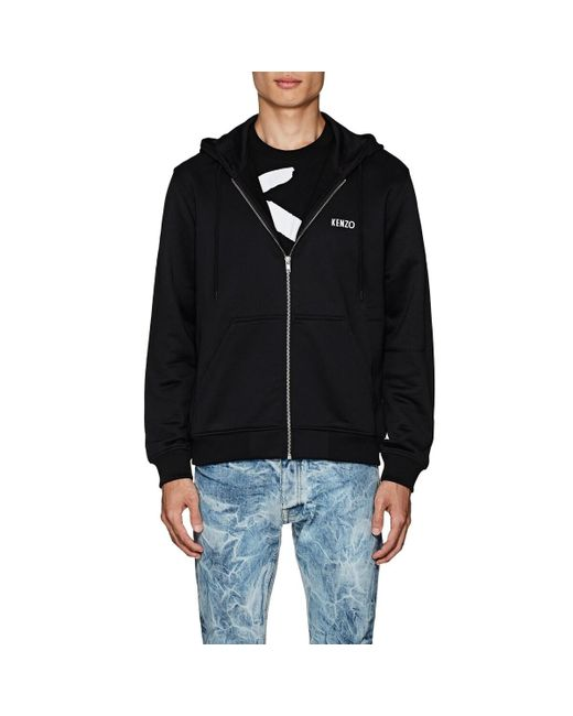 KENZO - Black Studded-dragon Cotton-blend Terry Hoodie for Men - Lyst