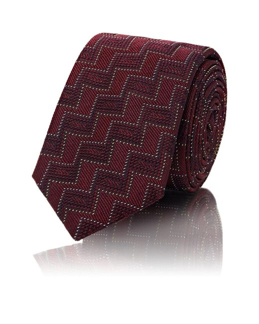 Barneys New York - Red Zigzag Silk Jacquard Necktie for Men - Lyst