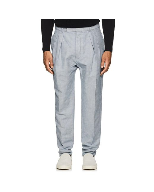 Officine Generale - Gray Houndstooth Linen-cotton Trousers for Men - Lyst