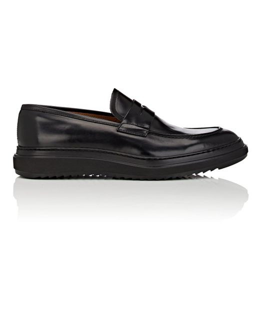 Barneys New York Black Wedge-sole Suede Penny Loafers for men