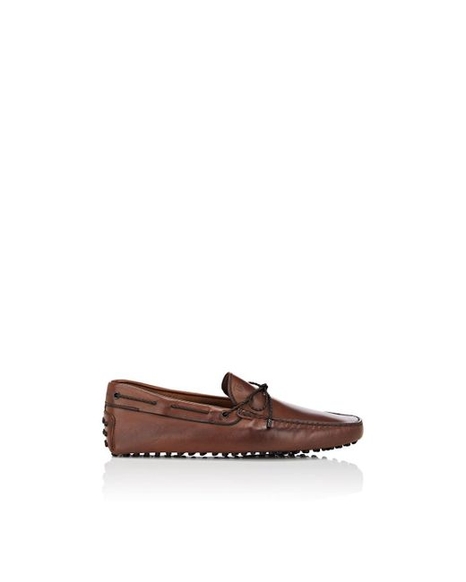 Tod's Brown Braided-tie Leather Drivers for men