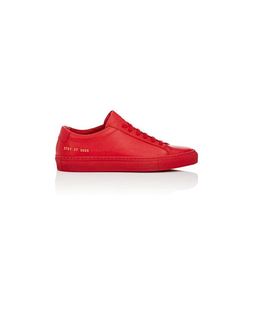 Common Projects - Red Achilles Original Leather Low-Top Sneakers - Lyst