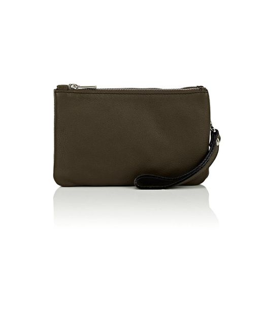 Barneys New York Green Leather Double Pouch for men