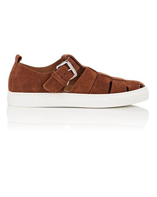 Barneys New York - Brown Nubuck Fisherman Sneakers for Men - Lyst