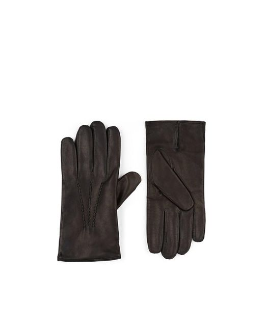 Barneys New York Black Cashmere-lined Leather Gloves for men