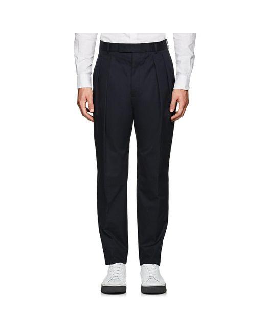 Officine Generale - Blue Cotton Pleated Trousers for Men - Lyst