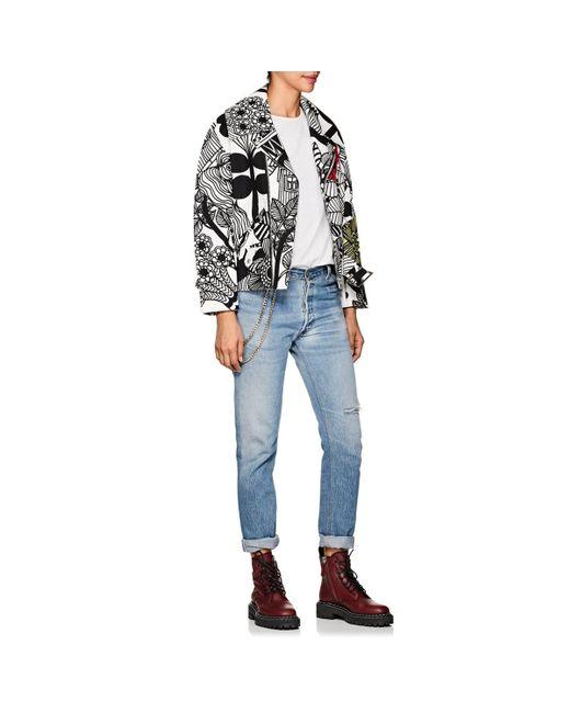 bc1ee32c3f3f Lyst - Junya Watanabe Printed Moto Jacket in Black - Save 60%