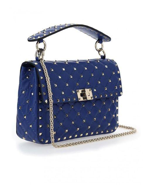 Valentino Garavani Medium Rockstuds Shoulder Bag - Womens - Blue / Light Blue