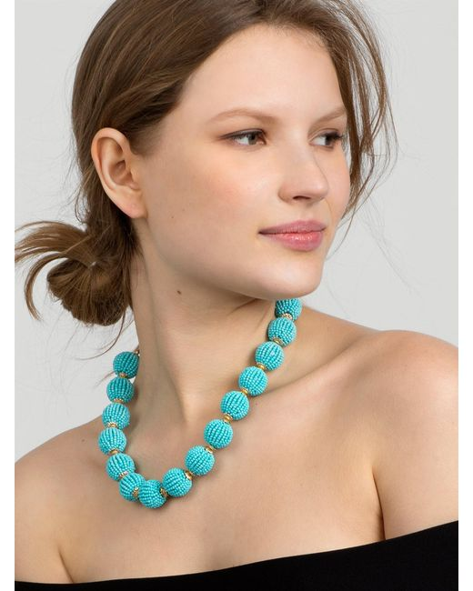 BaubleBar | Blue Beaded Ball Statement Necklace | Lyst