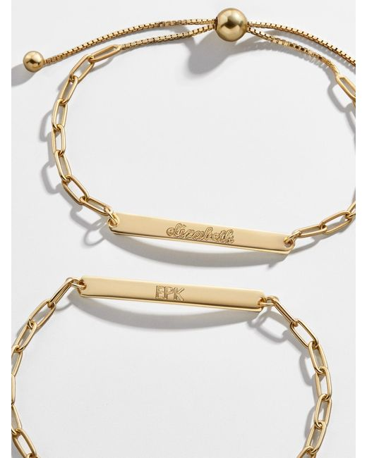 BaubleBar Metallic Engravable 14k Gold Vermeil Hera Pull-tie Bracelet