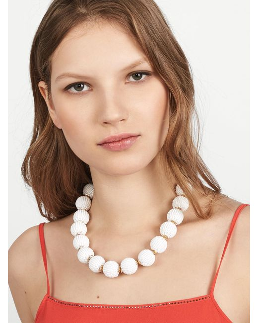 BaubleBar | White Beaded Ball Statement Necklace | Lyst