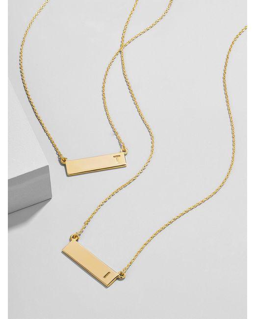 BaubleBar Metallic Initial Bar Pendant