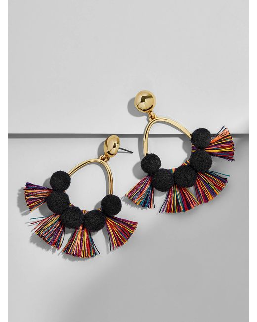 BaubleBar - Multicolor Melina Pom Pom Earrings-black/rainbow - Lyst