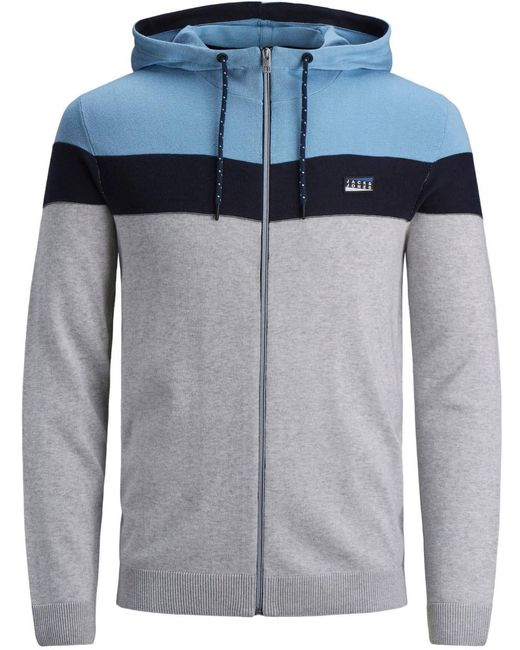 Jack & Jones Kapuzensweatjacke PANEL KNIT HOOD CADIGAN in Multicolor für Herren
