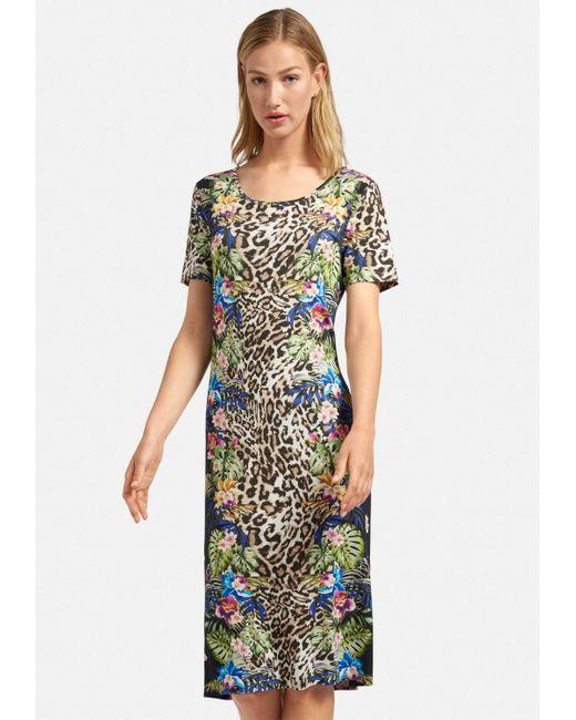 Peter Hahn Multicolor Jerseykleid Kleid mit Rundhals-Ausschnitt