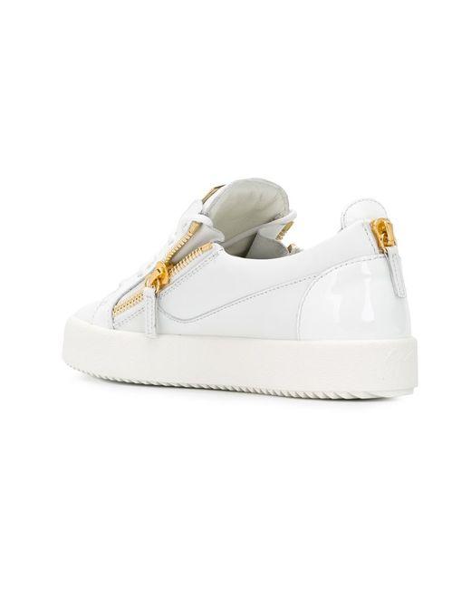 giuseppe zanotti bucks zip sneakers in white lyst