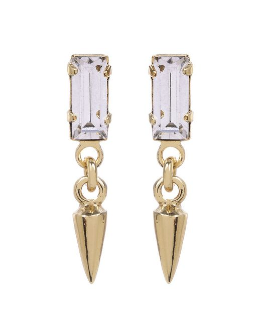 Bing Bang | Metallic Baguette Bullet Drop Earrings | Lyst