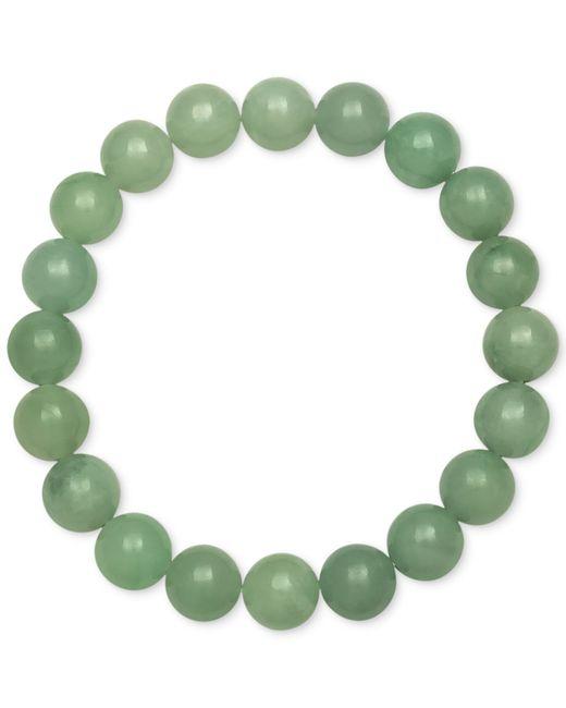 Macy's | Green Dyed Jade Stretch Bracelet (10mm) | Lyst