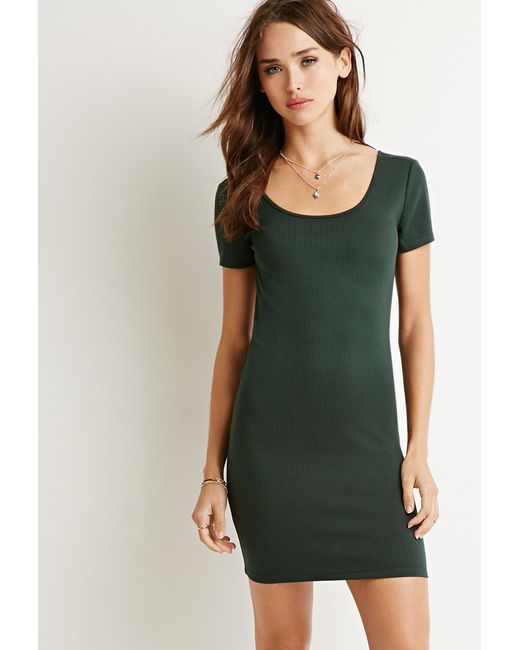 Forever 21 | Green Ribbed Scoop-neck Dress | Lyst