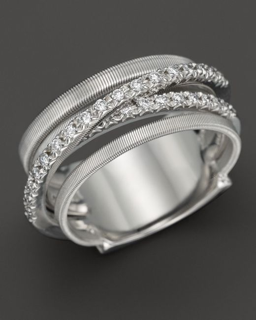 Marco Bicego | 18k White Gold Goa Five Row Ring With Diamonds | Lyst