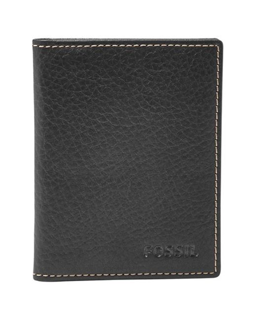 Fossil | Black 'Lincoln' Leather Folding Card Case for Men | Lyst