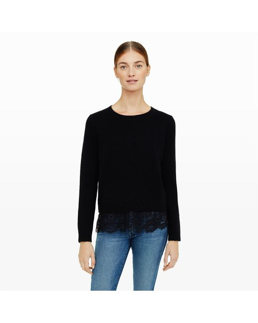 Club Monaco | Black Jessarey Lace Hem Sweater | Lyst