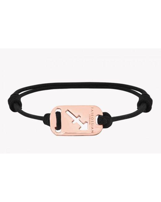 Tateossian | Pink Zodiac 18k Rose Gold Sagittarius Black Waxed Cord Bracelet for Men | Lyst