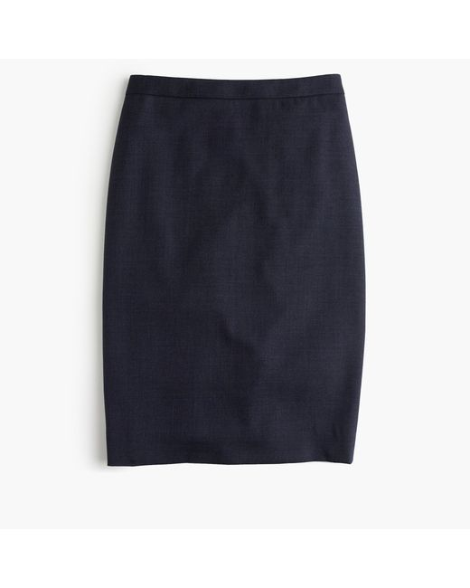 J.Crew   Blue Petite Pencil Skirt In Super 120s Wool   Lyst