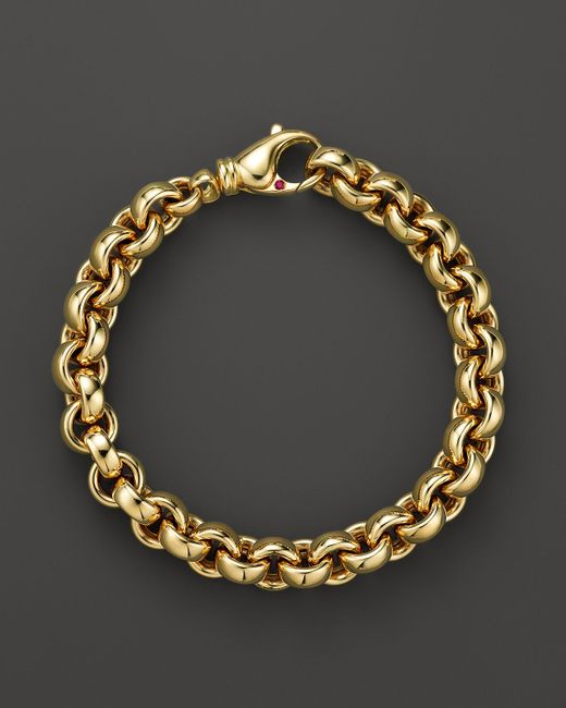 Roberto Coin | Metallic 18k Yellow Gold Small Round Link Bracelet - Bloomingdale's Exclusive | Lyst