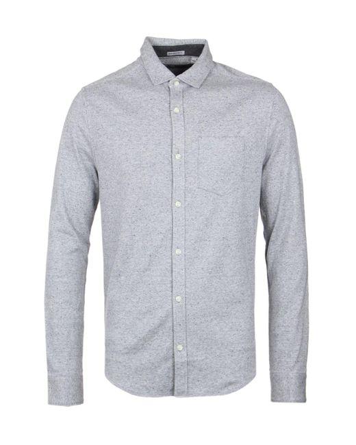 Original Penguin - Gray Steel Grey Flecked Knit Slim Fit Shirt for Men - Lyst