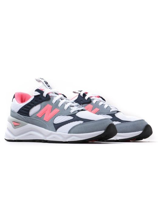 New Balance X-90 Tonal White & Pink Motif Trainers for men