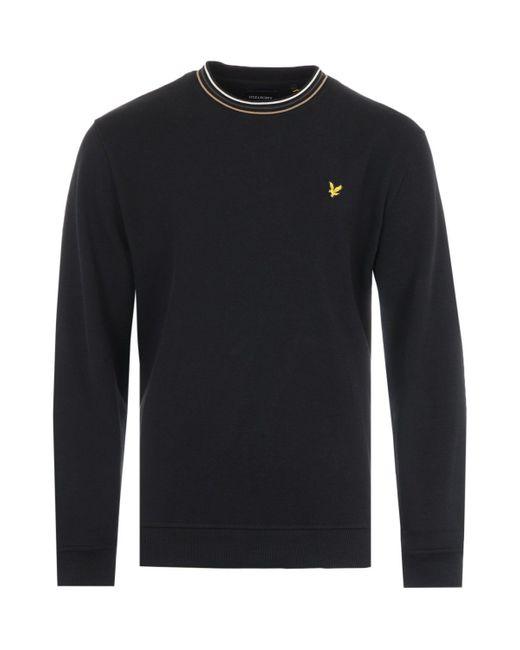 Lyle & Scott Tipped Pique Sweatshirt - Jet Black for men