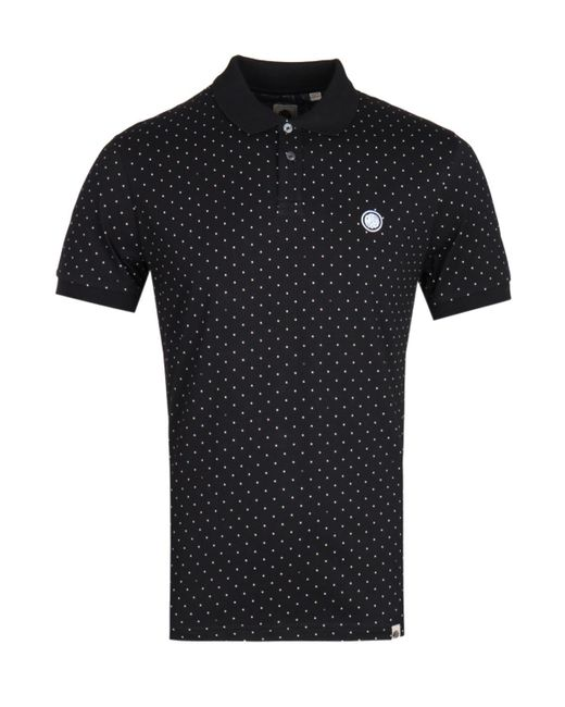 Pretty Green Polka Dot Black Polo Shirt for men